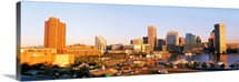 Maryland, Baltimore, High angle view from Federal Hill Parkof Inner Harbor area and skyline