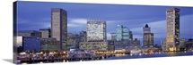 Maryland, Baltimore, Panoramic view of an urban skyline at twilight