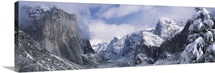 Mountains and waterfall in snow, Tunnel View, El Capitan, Half Dome, Bridal Veil, Yosemite National Park, California,