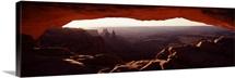 Natural arch at sunrise, Mesa Arch, Canyonlands National Park, Utah,
