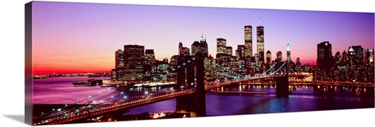 New York City, Brooklyn Bridge, twilight