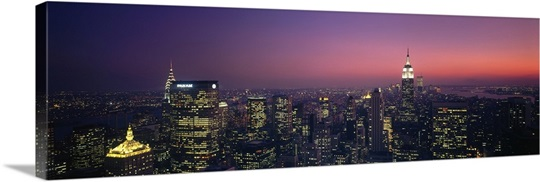 New York, New York City, aerial, twilight