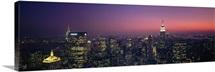 New York, New York City, aerial, twilight