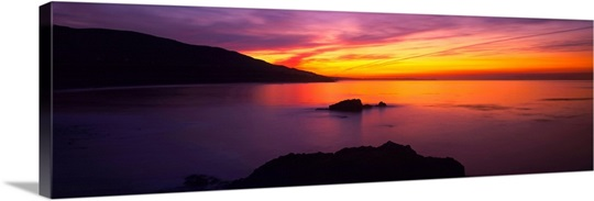 Panoramic view of the sea at dusk, Leo Carillo State Park, Malibu, Carillo, Los Angeles County, California