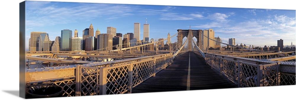 Pedestrian Walkway Brooklyn Bridge New York NY