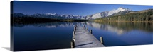 Pier over a lake, Hector Lake, Mt John Laurie, Rocky Mountains, Kananaskis Country, Calgary, Alberta, Canada