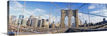 Railings of a bridge, Brooklyn Bridge, Manhattan, New York City, New York State, USA, (pre Sept. 11, 2001)