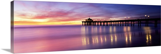 Reflection of a pier in water, Manhattan Beach Pier, Manhattan Beach, San Francisco, California