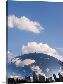 Reflection of clouds and skyline in a sculpture, Cloud Gate, Milleninum Park, Chicago, Illinois,