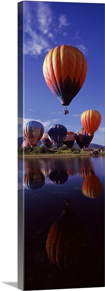 Reflection of hot air balloons in a lake Hot Air Balloon Rodeo Steamboat Springs Routt County Colorado