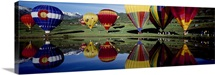 Reflection of hot air balloons in a lake Snowmass Village Pitkin County Colorado