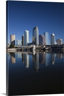 Reflection of skyscrapers on water, Hillsborough River, Tampa, Florida