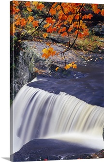 Rushing water over Fulmer Falls, autumn, Delaware Water Gap National Recreation Area, Pennsylvania