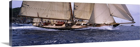 Sailboat in the sea, Schooner, Antigua, Antigua and Barbuda