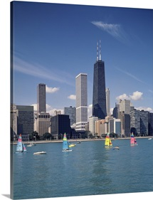 Sailboats in a lake, Lake Michigan, Chicago, Cook County, Illinois,