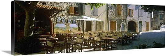 Sidewalk Cafe In A Village Claviers Var Provence Alpes