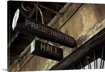 Signboard on a building, Preservation Hall, French Quarter, New Orleans, Louisiana