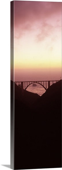 Silhouette of a bridge at sunset, Bixby Bridge, Big Sur, California,