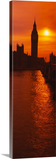 Silhouette of a government building and a clock tower at sunset, Big Ben, House of Parliament, London, England