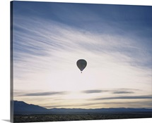 Silhouette of a hot air balloon in the sky, Taos County, New Mexico