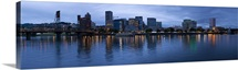 Skyline as seen from the Vera Katz Eastbank Esplanade Willamette River Portland Multnomah County Oregon