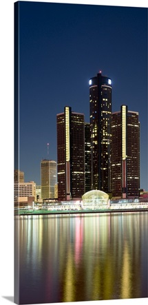 Skyscrapers lit up at dusk, Renaissance Center, Detroit River, Detroit, Michigan,