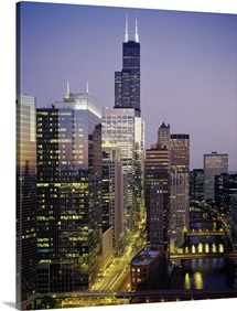 Skyscrapers lit up at night, Sears Tower, Chicago, Cook County, Illinois,