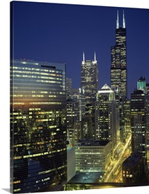 Skyscrapers lit up at night, Sears Tower, Wacker Drive, Chicago, Cook County, Illinois,