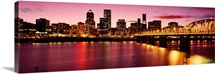 Skyscrapers lit up at sunset, Willamette River, Portland, Oregon, USA, 1994