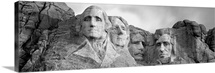 South Dakota, Mount Rushmore, Low angle view of rock carvings (Black And White)
