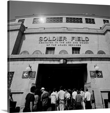 Spectators entering a football stadium, Soldier Field, Lake Shore Drive, Chicago, Illinois,