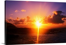 Sunrise over ocean, Sandy Beach Park, Oahu, Hawaii