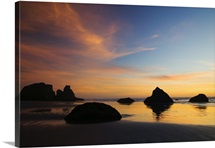 Sunset sky, silhouetted sea stacks on Bandon Beach, Bandon Beach State Park, Oregon