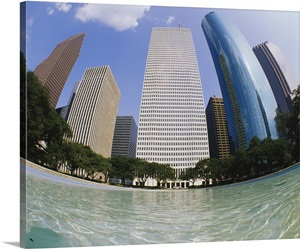 Swimming pool in front of buildings houston texas photo canvas print great big canvas for Houston swimming pool high rise
