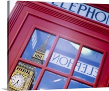 Telephone Booth Reflection of Big Ben London England