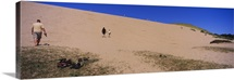 Tourists climbing a sand dune, Sleeping Bear Dunes National Lakeshore, Lake Michigan, Michigan