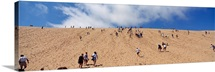 Tourists climbing on sand dune, Sleeping Bear Dunes National Lakeshore, Lake Michigan, Michigan,