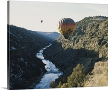 Two hot air balloons in the sky, Taos County, New Mexico