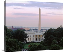 View of the White House and Washington Monument at dusk, Washington DC