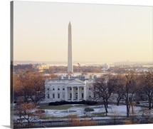 View of the White House and Washington Monument at sunset, Washington DC