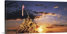 War memorial at sunrise, Iwo Jima Memorial, Rosslyn, Arlington, Arlington County, Virginia