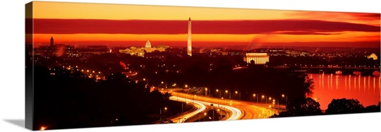 Washington DC, aerial, sunset