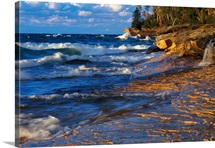 Waves along Lake Michigan shoreline, sunset light, Miners Beach, Michigan