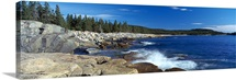Waves breaking on rocks at the coast, Acadia National Park, Schoodic Peninsula, Maine,