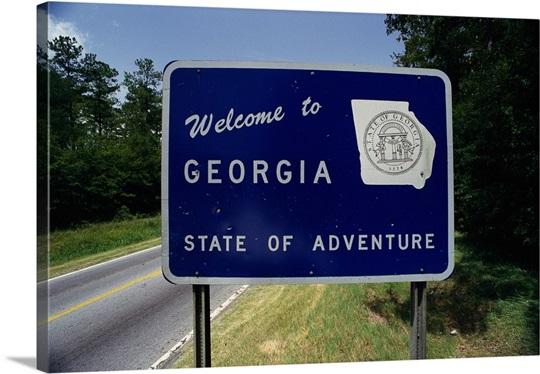 wel e to georgia state sign ga photo canvas print