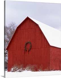 Wreath hanging on a barn, Leland, Leelanau County, Michigan,