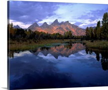 Wyoming, Grand Teton National Park, Panoramic view of a mountain range