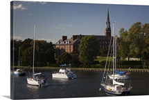 Yachts in a creek, St. Mary&amp;#39;s Church, Annapolis, Anne Arundel County, Maryland