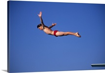 Action of male diver in the air