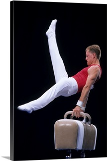 Male gymnast performing on the pommel horse